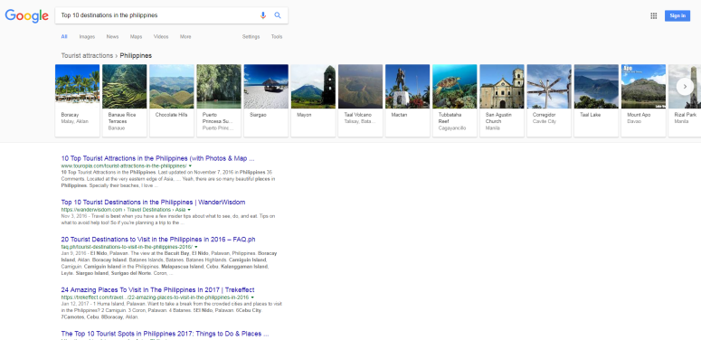 Google SERP for Top 10 destinations in the Philippines